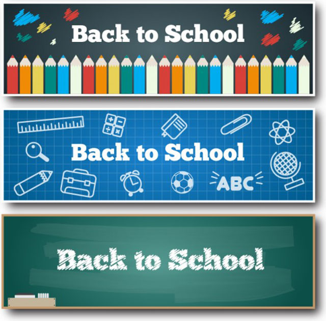 set_de_banners_escuela_vector