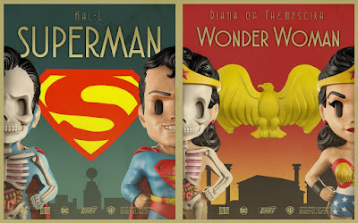 DC Comics XXRAY Dissection Golden Age Series Vinyl Figures by Jason Freeny & Mighty Jaxx - Superman & Wonder Woman