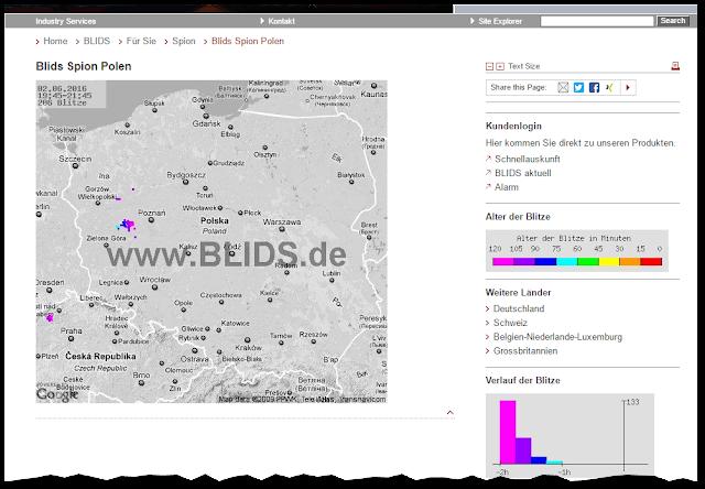 Strona przedstawiająca mapę Polski z naniesionymi rejonami wyładowań atmosferycznych