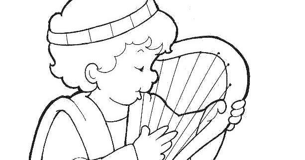 David Y Goliat Para Colorear Dibujos Cristianos Para: David Tocando El Arpa Para Colorear Dibujos Cristianos