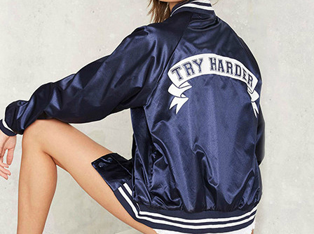 BOOGZEL | Try Harder Bomber Jacket blue apparel collage