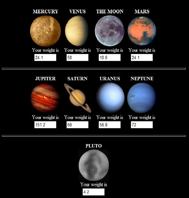weight on other planets - photo #19