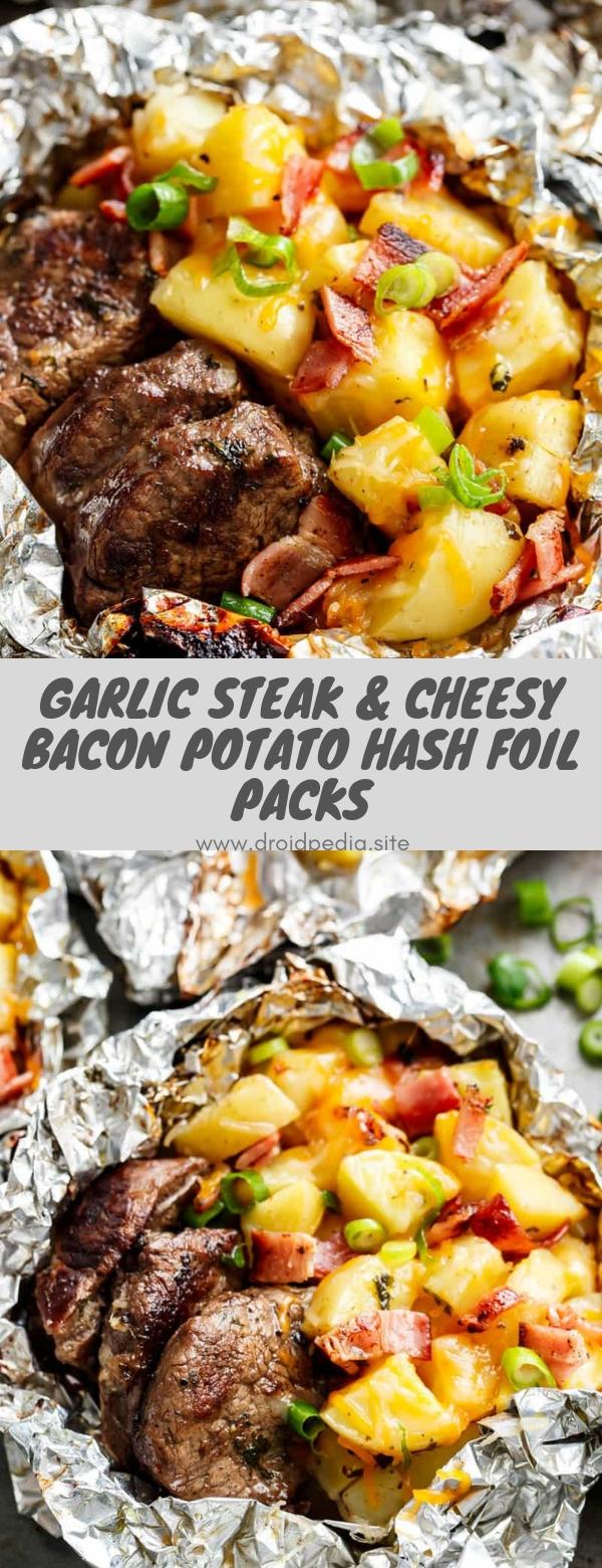 Garlic Steak & Cheesy Bacon Potato Hash Foil Packs #dinner #maincourse #steak #bacon #potato #foilpack