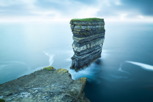 Long exposure photograph of Dun Briste seastack at Dunpatrick Head in Ireland