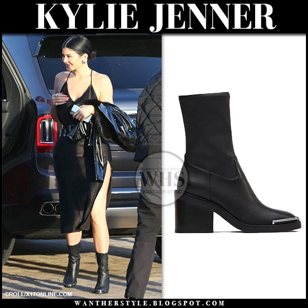 839f40c5350 Kylie Jenner in black ankle boots and black slip dress in Malibu on ...