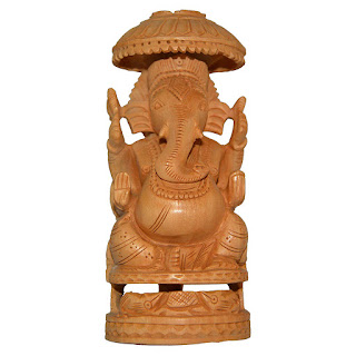 DronaCraft Lord Ganesha Blessing Kadamba Wood Carved Statue