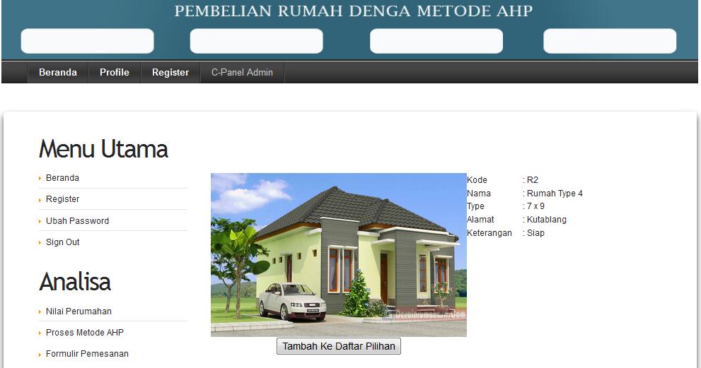 Scripts PHP - Sitem Pendukung Keputusan Kelayakan Pembelian Rumah ...