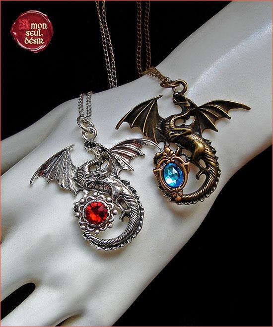 collier pendentif dragon bronze argent rouge bleu bijouterie fantastique médiéval