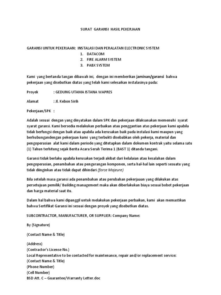 contoh surat garansi 2019 kumpulan contoh surat lengkap