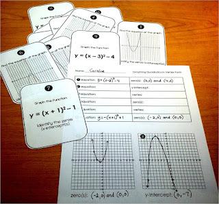 quadratic task cards in vertex form free activity