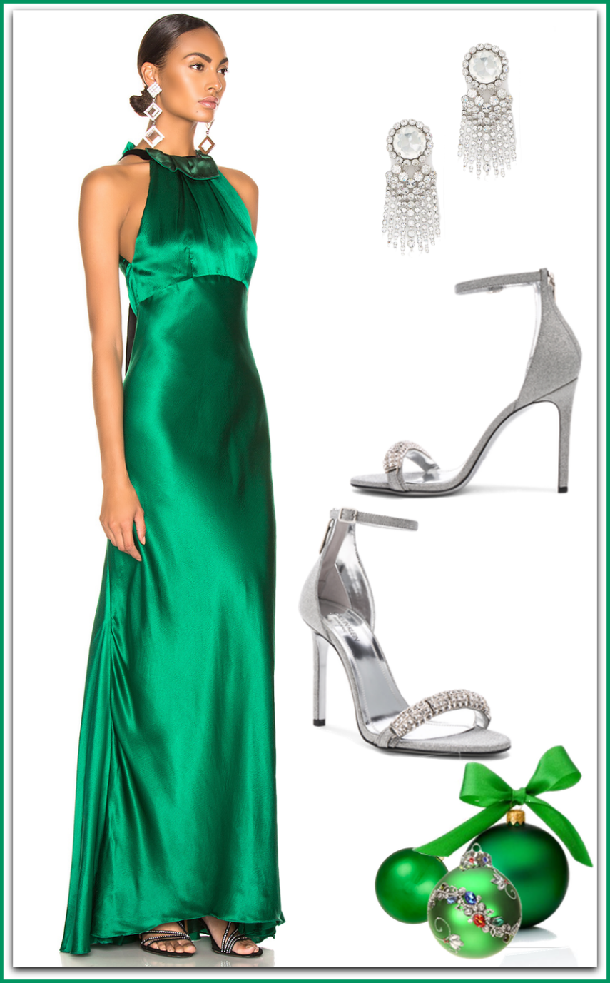 SALONI  Michelle Dress in Emerald Green