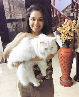 Keerthy Suresh with Cute and Awesome Lovely Smile with Cute Cat