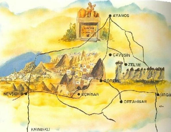 Que ver y que hacer en Capadocia, Mapa de Capadocia