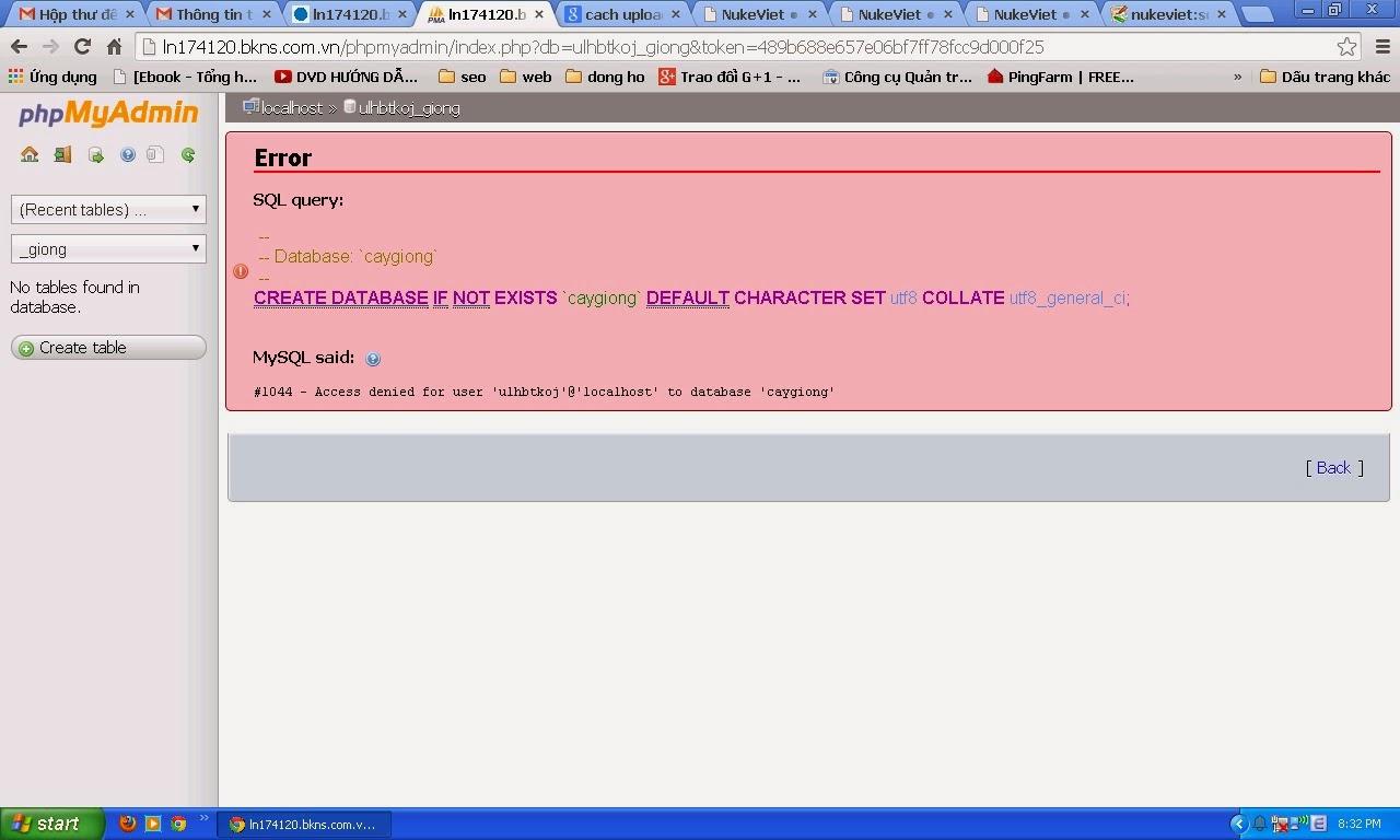 Kết quả hình ảnh cho Lỗi xuất nhập dữ liệu trong phpmyadmin