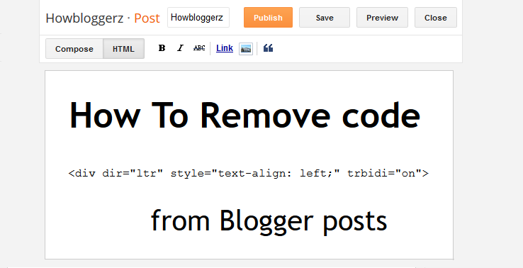How to remove default code dir ltr trbidi on from blogger