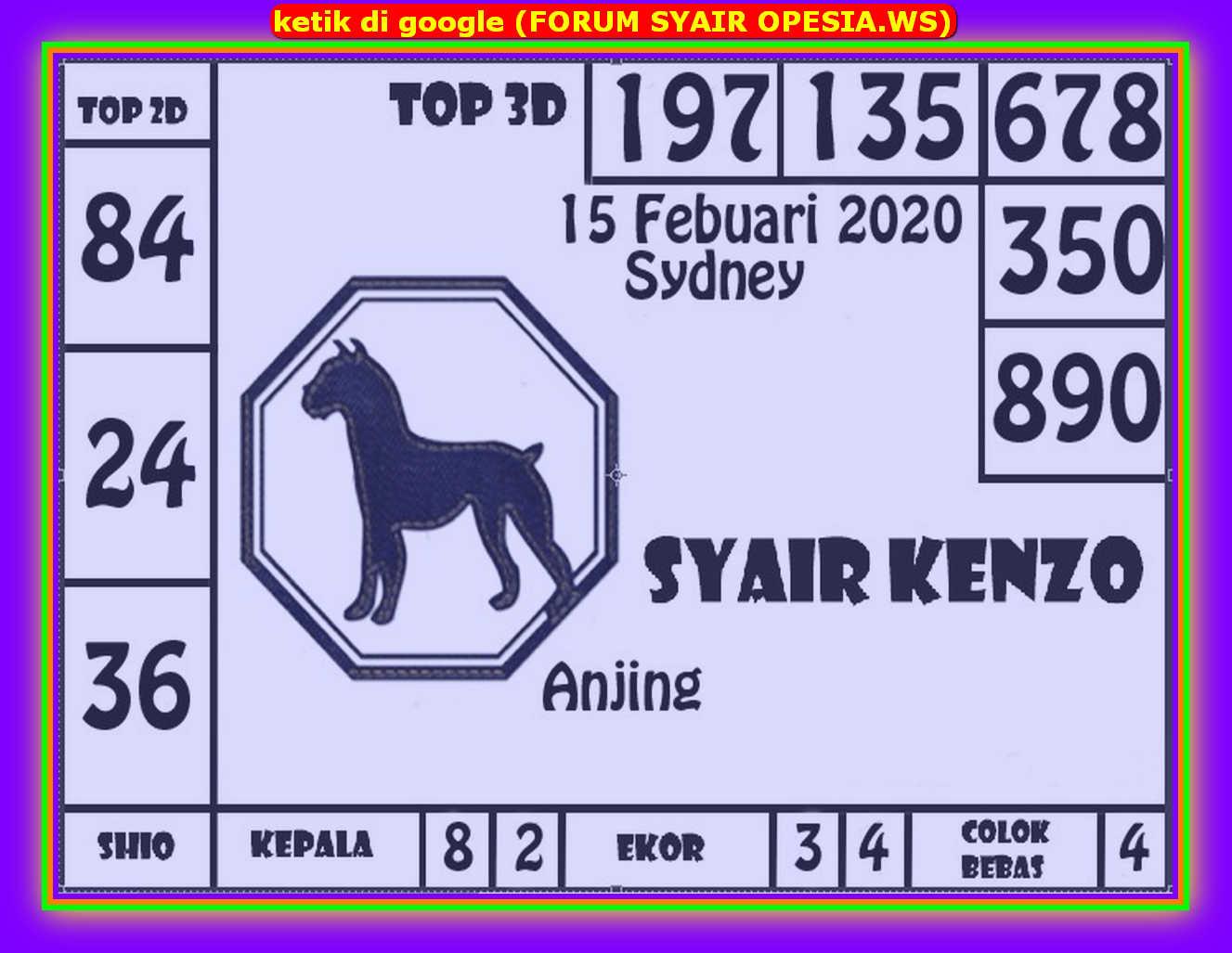 Kode syair Sydney Sabtu 15 Februari 2020 78