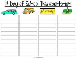 Chart, list, graph for 1st day of school transportation