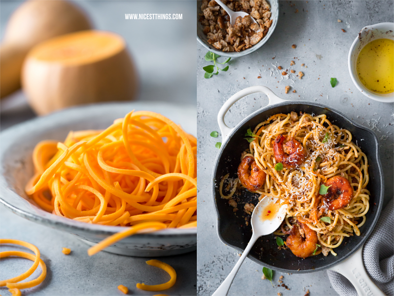 Spaghetti aus Butternut Kürbis Nudeln