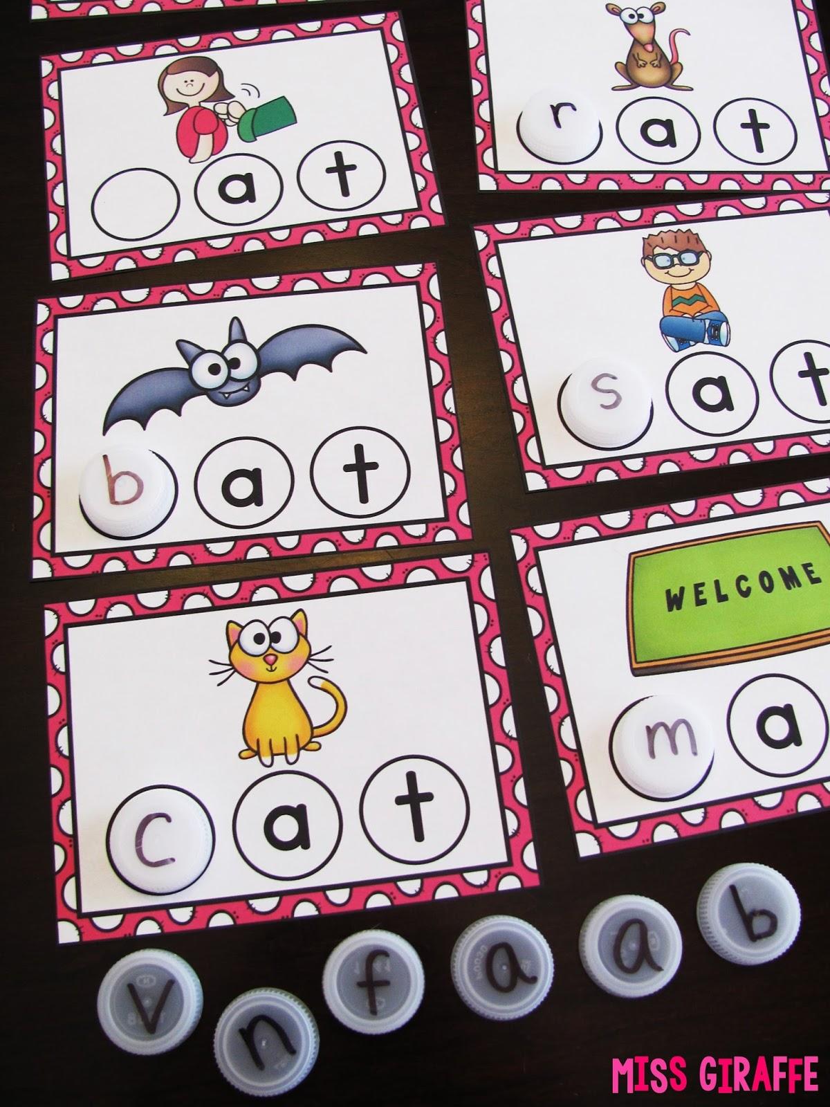 Miss Giraffe S Class Bottle Cap Cvc Word Building Centers