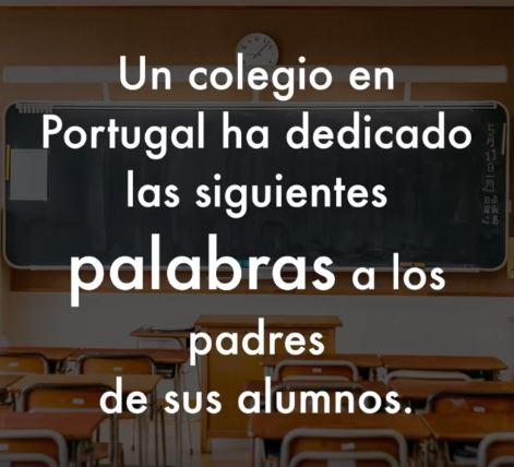 Carta a los padres de un colegio portugués