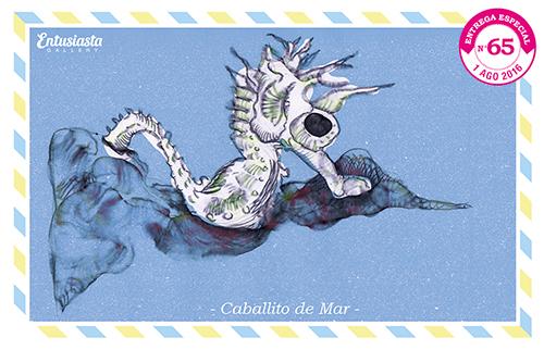 Un hipocampo dibujando por la ilustradora Jésica Cichero.