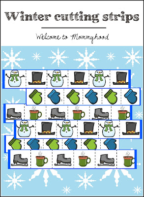 Free printables: Winter themed cutting strips by Welcome to Mommyhood #practicallife #montessori, #preschoolactivities, #montessoriactivities, #toddleractivities