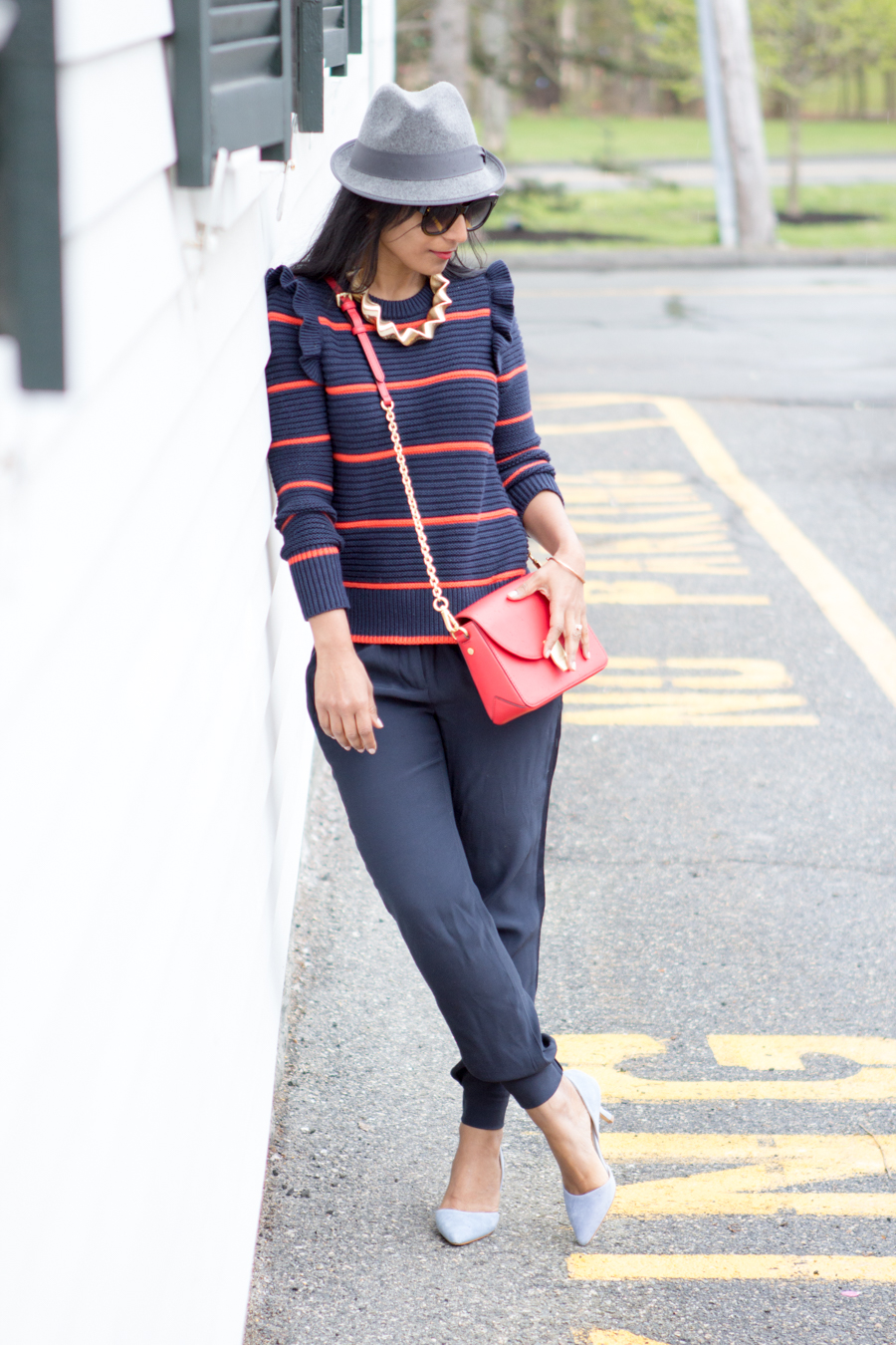 jogger, casual pants, work to weekend, light blue pumps, fedora, banana republic, pullover, navy sweater, striped sweater, spring outfit, spring lookbook, petite fashion, mommy style, easy chic, mommy glam, red bag, dressy casual, fashion blog, petite style, style blog, street style, easy outfit