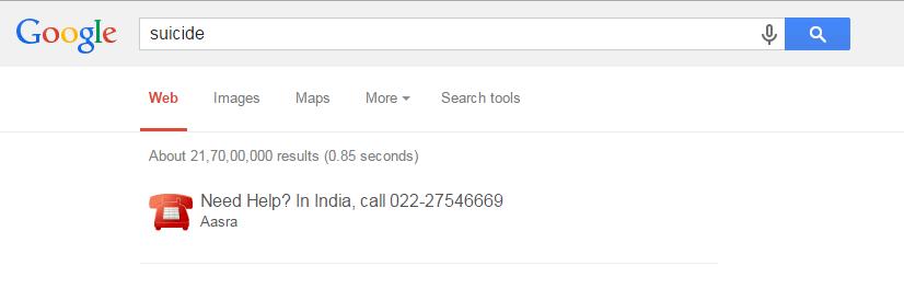 Google Suicide Helpline