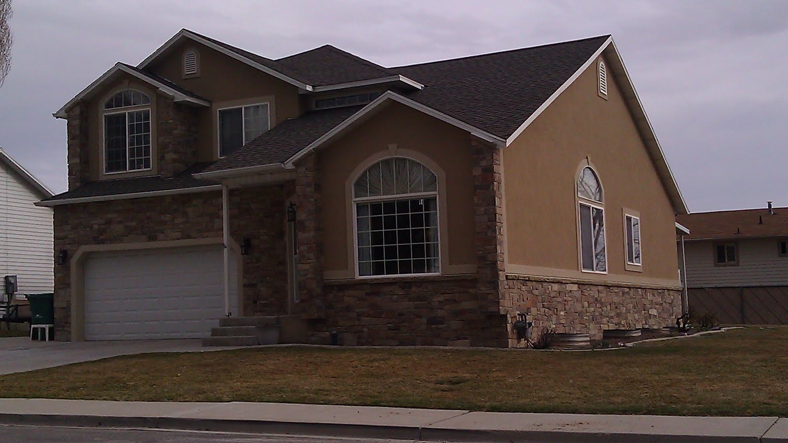 The Stucco Is Montessary Brown With Amarillo White Trim Stone A Natural This That Rhett And Cory Brought In For Project