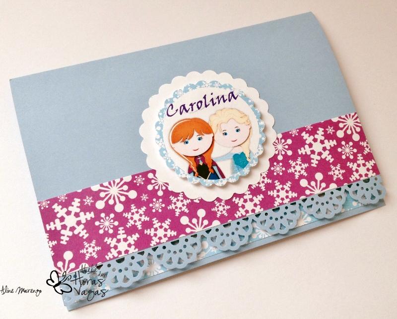convite artesanal infantil aniversário frozen elza anna olaf aventura congelante scrap menina let it go