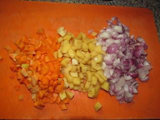 diced carrots, onion and irish potatoes