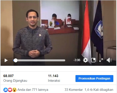 gambar video pidato mendikbud HGN 2019