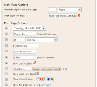 Blogger Edit blog posts options