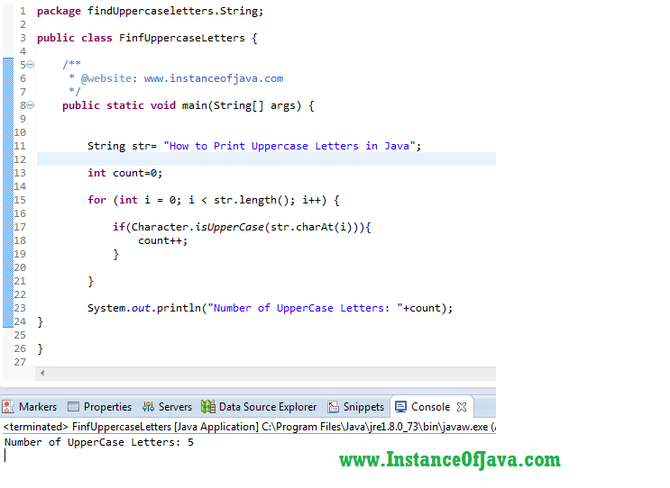 how to find uppercase letters in a string in java