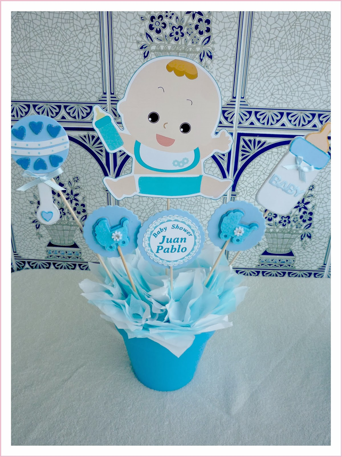 Baby nina fiestas baby shower para juan pablo for Centro de mesa baby shower