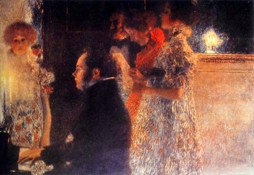 Klimt painting of Schubert playing the piano