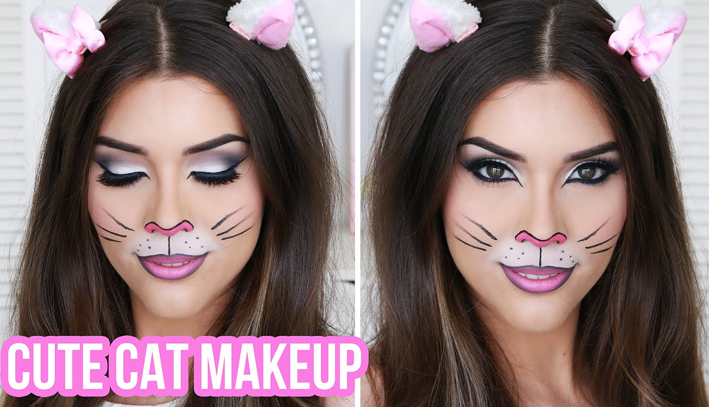 Easy and cute cat halloween makeup ideas 2017 - Cheshire kitty cat ...