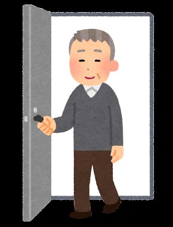 ドアから出てくる人のイラスト(おじいさん)