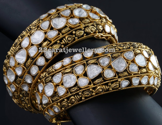 Broad Polki Diamond Bangles
