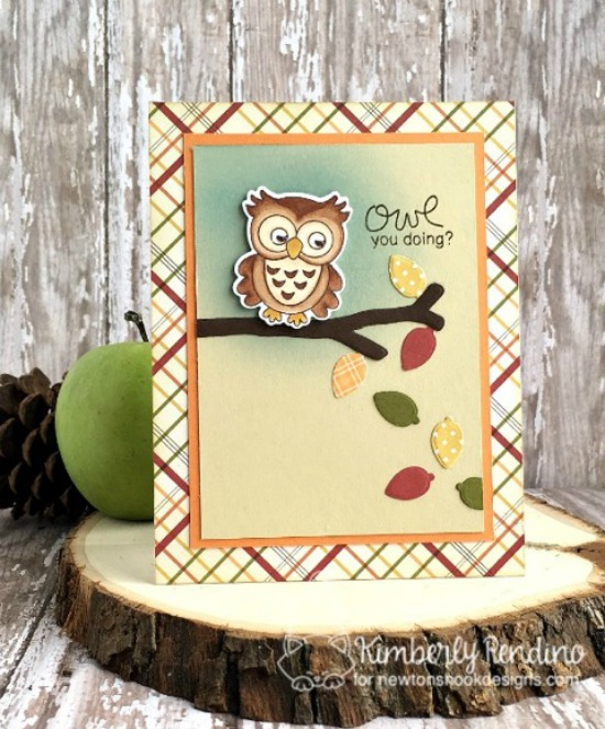 Fall owl card by Kimberly Rendino | What a Hoot Stamp Set & Die Set by Newton's Nook Designs #newtonsnook