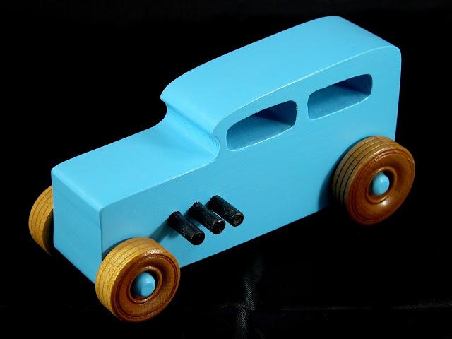 20171023-175910 - Wooden Toy Car - Hotrod Freaky Ford - Pine - Blue - Shellac Wheels- Custom Order