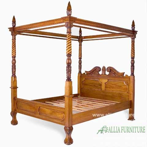 tempat tidur kayu jati kanopi ukiran sayap