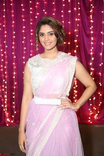 Surabhi in Designer Pink Saree and White Sleeveless Choli at Zee Telugu Apsara Awards 2017 01.JPG