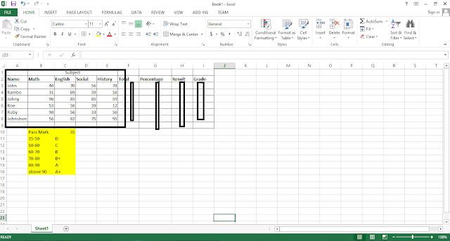 Create Student Result In Excel