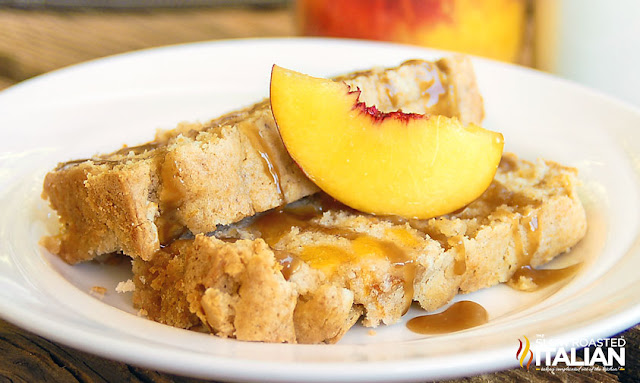 peach dessert: pound cake with cobbler topping