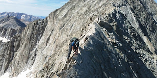 Capitol Peak's Knife Edge on the Northeast Ridge route on this dangerous 14er