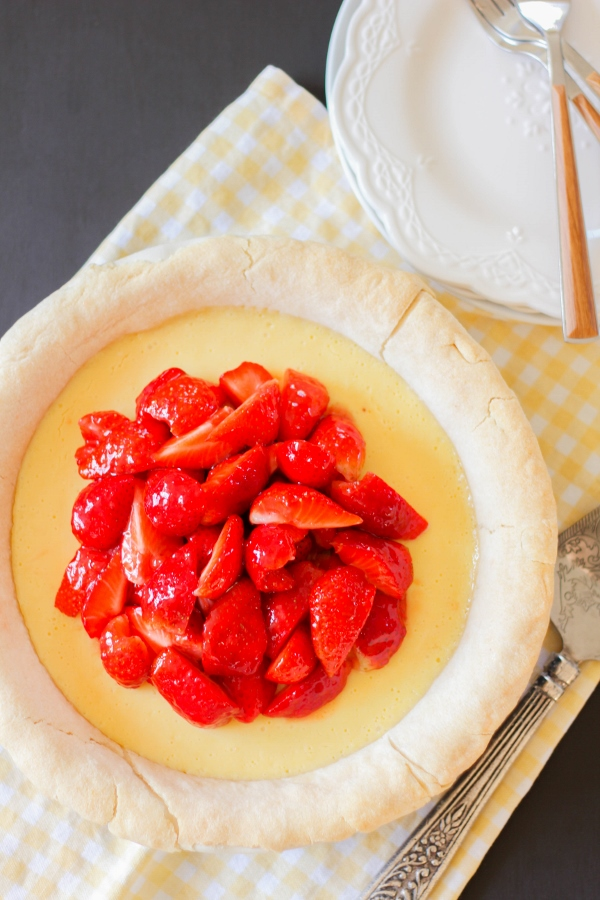 This beautiful Lemon Strawberry Pie is the perfect dessert to serve for any party or special occasion! It's light and airy, full of flavor, and so simple to make!