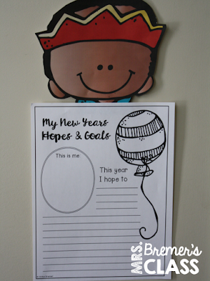 New Year writing and craftivity for K-3. Makes a fun bulletin board display in the classroom! Have students share their hopes and goals for the new year. #newyear #newyeargoals #kindergarten #1stgrade #2ndgrade #bulletinboard #bulletinboardideas