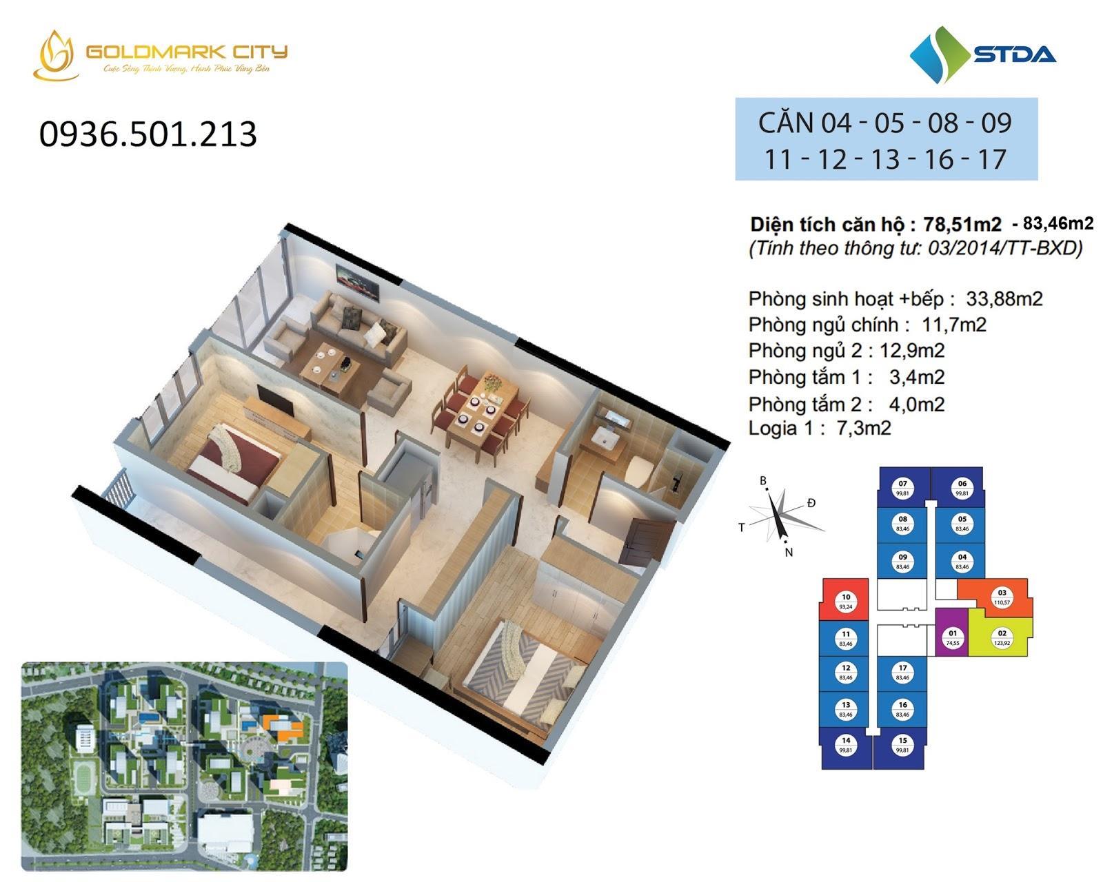 Mặt bằng căn 04 -05 -08 -09 -11- 12-13-16-17 tòa Ruby 2