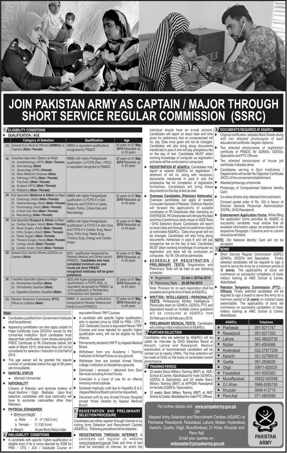 Join Pak Army 2019, Join Pak Army as Major and Captain | Joinpakarmy.gov.pk